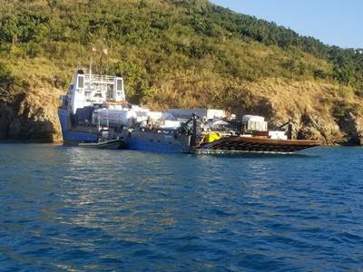 The 223-foot cargo vessel Ocean Spirit I has grounded off St. Thomas in the U.S. Virgin Islands (Photo: U.S. Coast Guard District 7)