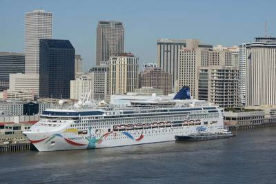 The 2,340-passenger Norwegian Dawn berthed at the Port of New Orleans' Julia Street Cruise Terminal in November 2014. (Photo courtesy of the Port of New Orleans)