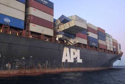 The 277-meter APL England lost dozens of containers overboard off the coast of Sydney, Australia in May. (Photo: AMSA)