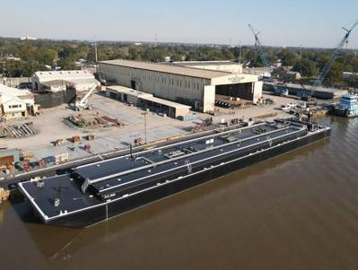The 30,000 BBL Asphalt barge PTC 2002, delivered from Conrad Morgan City (Photo: Conrad Shipyards and Parker Towing)