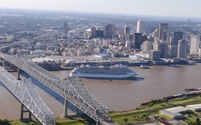 The 3,646-passenger Carnival Dream embarks from the Port of New Orleans' Erato Street Cruise Terminal. The 130,000-ton ship is the port's largest year-round cruise ship and sails seven-day itineraries to eastern and western Caribbean destinations. (Photo: Port of New Orleans)