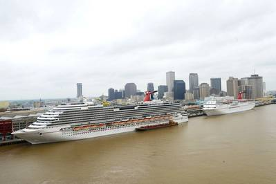 The 3,646-passenger Carnival Dream (left) and the Carnival Elation are pictured berthed at the Port's Erato Street and Julia Street Cruise Terminals in April. The Carnival Dream sails year-round seven-day eastern and western Caribbean itineraries from New Orleans, while the Carnival Elation sails year-round four- and five-day itineraries to Mexico. (Photo Port of New Orleans)