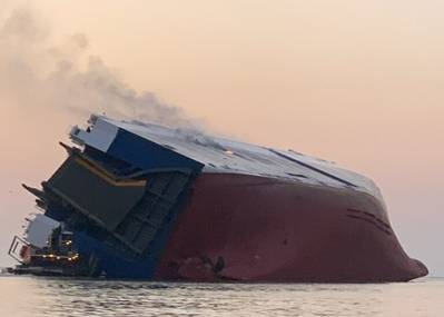 The 656-foot vehicle carrier MV Golden Ray overturned and caught fire in St. Simons Sound on September 8. (Photo: U.S. Coast Guard)