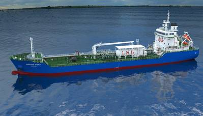 The 7,990 dwt newbuilding, soon to be christened Marine Vicky, will be the first bunker tanker for Singapore and Sinanju, to be powered mainly by LNG. (Image: Sinanju Tankers Holdings)