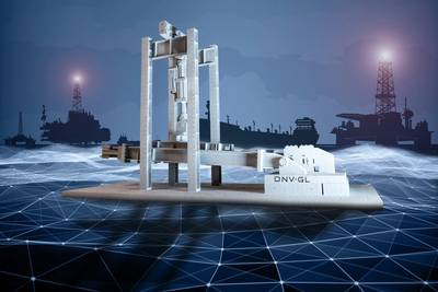 The ability to produce metal parts in a 3D printing process anywhere holds great promise for the maritime sector. The picture shows a 3D-printed aluminum replica of a mooring chain testing bed at the DNV GL lab in Bergen (Image: DNV GL)