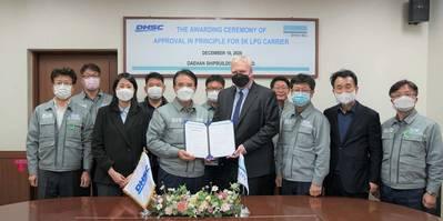 The AIP handover ceremony took place at the DHSC headquarters in Mokpo, South Korea: Front row: Yang Soo Kang (DHSC), Jeong Eun Lee (DNV GL), Dae-Seong Jeong (DHSC), Vidar Dolonen (DNV GL), Kyung Seok Lee (DHSC), Sung Ho Shin (DNV GL), Young Wook Min (DHSC). Back row: Seung Gan Kim (DHSC), Kyong Ho Kim (DNV GL), Yong Shik Choi (DHSC), Keum Il Yoo (DHSC). Image: DNV GL