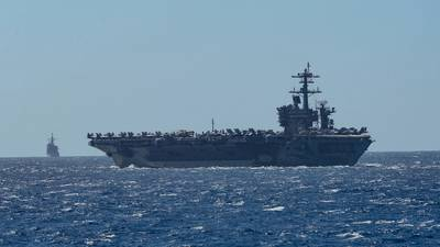 The aircraft carrier USS Theodore Roosevelt (CVN 71) in the Philippine Sea in February 2020. (U.S. Navy photo by Sean Lynch)