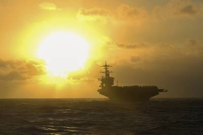 The aircraft carrier USS Theodore Roosevelt transits the Pacific Ocean, Jan. 1, 2021. U.S. Navy Photoby Navy Petty Officer 3rd Class Wade
