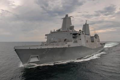 The amphibious transport dock Portland (LPD 27) has completed her first set of sea trials. The test and trials team at Ingalls Shipbuilding spent four days in the Gulf of Mexico operating the 11th San Antonio-class ship and demonstrating its systems. (Photo: Lance Davis/HII)