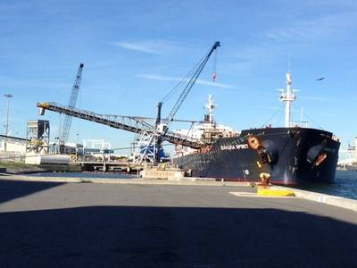 The Bahamas Spirit discharges limestone at South Cargo Pier 4 at Port Canaveral. (Photo courtesy of the Port of Canaveral)