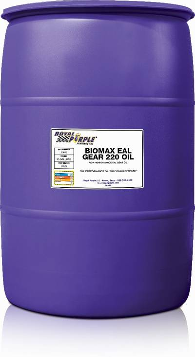 The BioMax EAL Gear Oil creates an ionic bond that adheres to metal parts and forms a synthetic film on metal surfaces, improving lubrication and maintaining longer lasting results on marine hydraulic gears. (Image: Royal Purple)