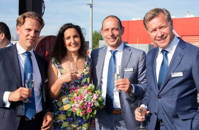 The board of Kotug Smit Towage with Secretary General of European Tugowners Association. On the picture left to right: Wouter Nieuwveld, CFO Kotug Smit Towage, Anna Maria Darmanin, ETA, Harrold van der Meer, COO Kotug Smit Towage, René Raaijmakers, CEO Kotug Smit Towage. (Photo: Kotug Smit)