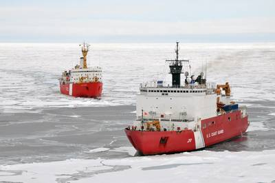 The Canadian Coast Guard Ship Louis S. St-Laurent makes an approach to the Coast Guard Cutter Healy in the Arctic Ocean, Sept. 5. The two ships are taking part in a multi-year, multi-agency Arctic survey that will help define the North American continental shelf. (Photo by Petty Officer 3rd Class Patrick Kelley)