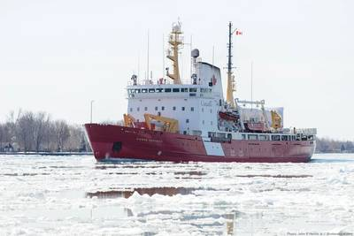 The CCGS Pierre Radisson, a 320' ice breaker from the Canadian Coast Guard (Source: John E Heintz Jr / Shutterstock.com)