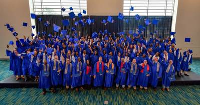 The Class of 2017 at Ingalls Shipbuilding's Apprentice School celebrates at their graduation ceremony (Photo: Andrew Young/HII)