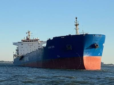The coal carrier Hong Dai sits aground 400 meters northwest of Sewell's Point near Norfolk, Va., October 1, 2020. (Photo: U.S. Coast Guard)