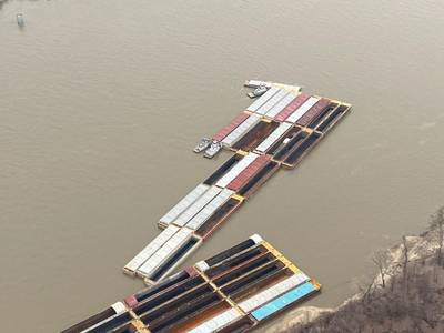 The Coast Guard and local agencies responded to a multi-barge breakaway in the vicinity of mile markers 176 and 177 on the Upper Mississippi River Wednesday, February 12, 2020. Multiple towing vessels in the area worked together to account for and secure all the loose barges. (Photo: USCG)