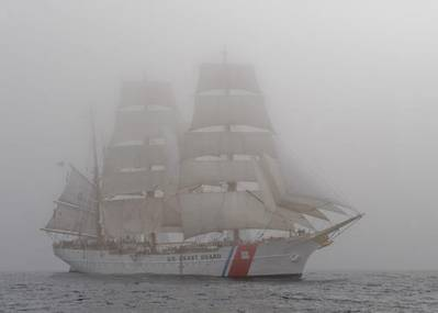 The Coast Guard Cutter Eagle sails through dense fog. U.S. Coast Guard photo by Petty Officer 2nd Class Erik Swanson.