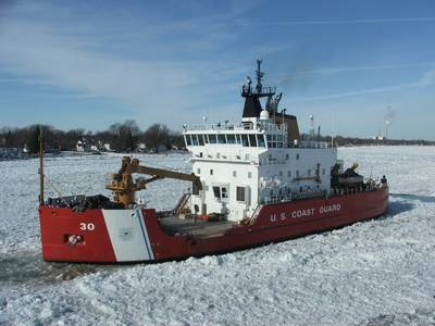 The Coast Guard Cutter Mackinaw, a 240-foot heavy icebreaker, breaks ice near Marine City, Mich., along the St. Clair River, Jan. 28, 2015. (U.S. Coast Guard photo by Daniel R. Michelson)