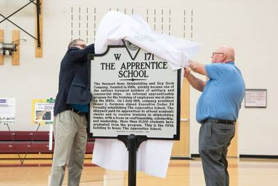 The company held a ceremony to mark the day – July 1, 1919 – when the school was established. During the event, a historical highway marker was unveiled, and tools, textbooks, commemorative coins and other items were placed in a time capsule. (CREDIT: The Apprentice School)
