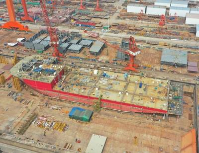 The construction of OHT's Alfa Lift is progressing well at China Merchant Heavy Industries fabrication yard in Jiangsu Province, China./ Image source: OHT