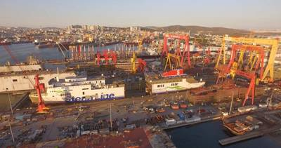 The conversion is being conducted by Stena RoRo and Sedef Shipyard in Turkey. (Photo: Gemi Kaydrma / Sedef Shipyard)