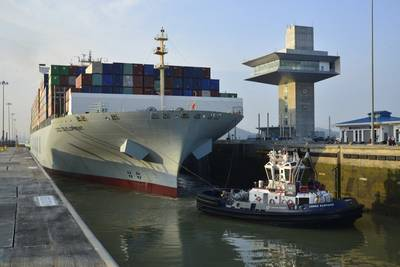 The COSCO Development transiting the Panama Canal's Cocoli Locks, making it the largest vessel to transit the Expanded Canal. (Photo: Panama Canal Authority)