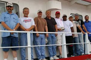 The Crew of the Theresa Wood: Pilot Tim Richards, Captain Rusty Joyner, Cook Scott Bohn, Chief Engineer Michael Shaffer, Senior Mate Todd Richardson, Senior Deckhand Don Collins, Lead Man Brad Gale, Deckhand William Suitor, Mate Ben Rodden