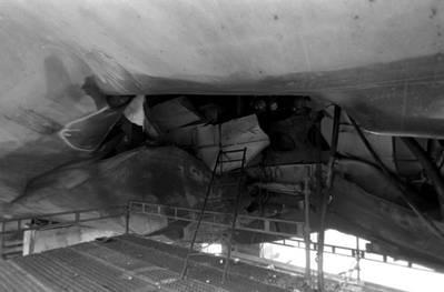 The damaged hull of USS Samuel B. Roberts (U.S. Navy photo)