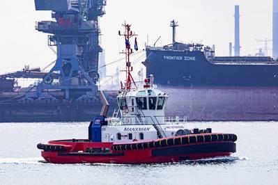 The Damen ASD 2411 'Manxman' on its maiden voyage to SMS Towage on the Humber Estuary (Photo: Damen)