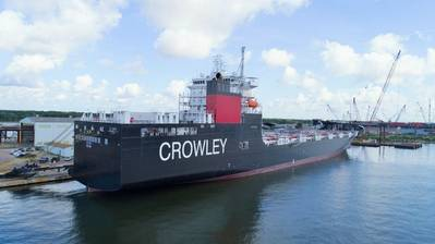 The El Coqui, a U.S. flag ConRo carrier, recently built specifically for the Jones Act Caribbean trades and powered by environmentally friendly LNG. CREDIT: Crowley Maritime