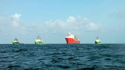 The FPSO Petrojarl Knarr being towed by Fairmount Marine tugs from South Korea to Norway (file photo)