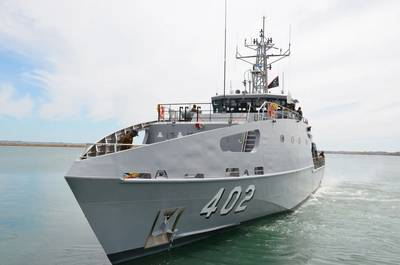 The future HMPNGS Rochus Lokinap is a 39.5 metre Guardian Class Patrol Boat, designed and constructed by Austal Australia. (Image: Austal)