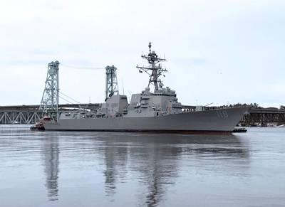 The future USS Daniel Inouye (DDG 118) departs General Dynamics Bath Iron Works shipyard on Feb. 3 for acceptance trials. (Photo by SUPSHIP Bath)