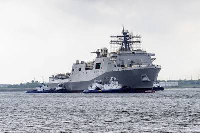 The future USS Fort Lauderdale (LPD 28) was successfully launched at the Huntington Ingalls Industries (HII) Ingalls Division shipyard in Pascagoula, Miss. on March 28. (Photo by Huntington Ingalls Industries/US Navy)
