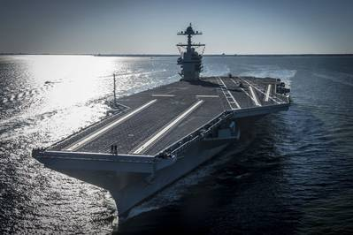 The future USS Gerald R. Ford (CVN 78) underway during sea trials April 8, 2018 (U.S. Navy photo by Ridge Leoni)