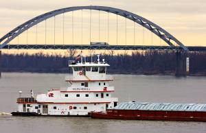 The Helen Merrill southbound on her maiden voyage on the Ohio River at Metropolis Ill. a few miles below Paducah, Ky. with the I-24 highway bridge. (Photos courtesy Jeff L. Yates courtesy of Cummins Marine)