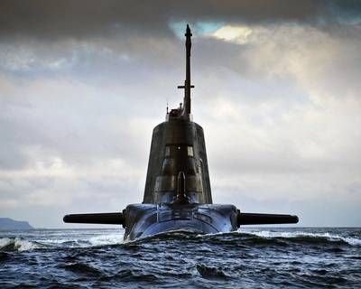The HMS Ambush Astute Class attack submarine returning to HMNB Clyde in Scotland. Credit Royal Navy