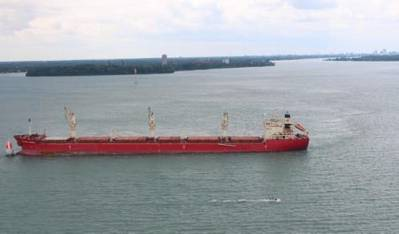 The Hong Kong-flagged freighter vessel Federal Rideau sits hard aground in the downbound shipping channel of Lake St. Clair near the Detroit River, July 28, 2014. The vessel is carrying approximately 22,672 tons of wheat and was headed to Montreal. (U.S. Coast Guard photo courtesy of Coast Guard Air Station Detroit)