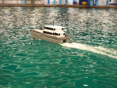 The hull form of the new catamaran has been optimised by CFD testing. (Photo: Chartwell Marine)