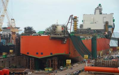 The Johan Castberg production vessel at Sembcorp Marine in Singapore. (Photo: Equinor ASA)