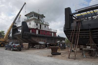 The latest Leboeuf towboat sits between two sisters at the Intracoastal Ironworks yard (photo: Alan Haig-Brown)