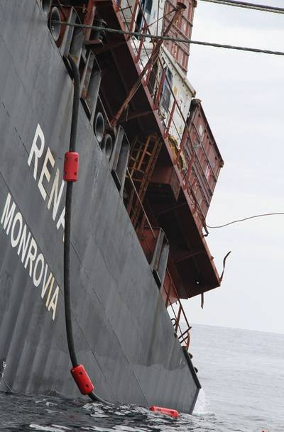 The line that is being used to pump oil off Rena. courtesy: Maritime New Zealand)