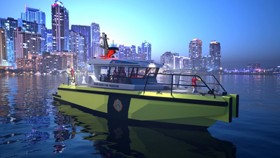 """The Metal Shark """"50 Defiant X"""" fireboat, a welded aluminum monohull vessel featuring a proven hull form and a specialized arrangement optimized for firefighting. CREDIT: Metal Shark"""