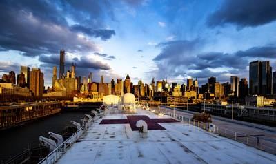 The Military Sealift Command hospital ship USNS Comfort (T-AH 20) has been providing medical relief to New York amid the coronavirus outbreak. (U.S. Navy photo by Scott Bigley)