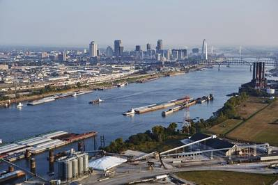 The Mississippi River as it winds around the St. Louis Arch on a better day. CREDIT: St. Louis Regional Freightway.