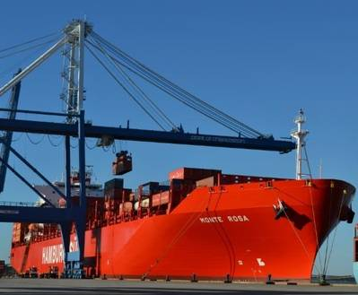 """The Monte Rosa, a 5,560 TEU Hamburg Süd vessel, calls the Wando Welch Terminal for the first time today as part of the """"New Tango"""" East Coast South America service."""