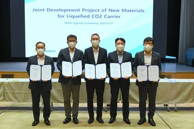 The MOU was signed at POSCO Center in Seoul by delegations from HMD (Young-Jun Nam, Executive VP), LR (Young-Doo Kim, North East Asia TSO Manager), KSOE (Sang-Beom Shin, Senior VP), the Liberian Registry (Jung Sik Kim, Managing Director of Korea office) and POSCO (Sang-Chul Kim, Head of Energy and Shipbuilding Materials Marketing office). (Photo: Liberian International Ship & Corporate Registry)