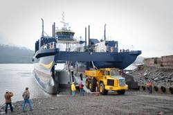 (The M/V Susitna can lower its buoyant vehicle deck to decrease the hull draft for landing craft operations.) photo by Charlie Starr, used by permission from Alaska Ship and Drydock.