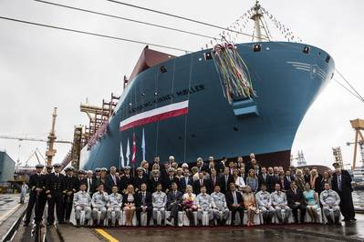 The naming ceremony for the first Triple-E vessel, Maersk Mc-Kinney Moller, was held June 14, 2013 in Okpo, South Korea. (File photo courtesy of Maersk Line)